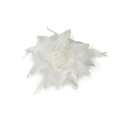 Bloem XL stof met veertjes wit ca. 13 cm (5 stuks)