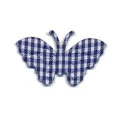 Applicatie geruite vlinder donker blauw-wit middel 40 x 25 mm (ca. 25 stuks)