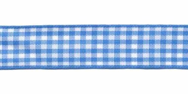 Ruit band blauw-wit 15 mm (ca. 45 m)