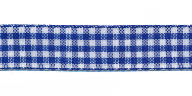 Ruit band kobalt blauw-wit 15 mm (ca. 45 m)