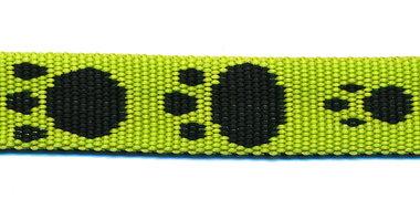 Tassenband 15 mm pootje felgroen/zwart (ca. 5 m)