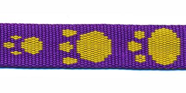 Tassenband 15 mm pootje paars/geel (ca. 5 m)