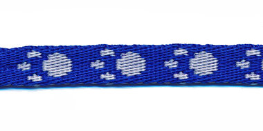 Tassenband 10 mm pootje kobalt blauw/wit (ca. 5 m)
