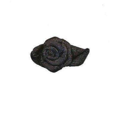 Roosje satijn zwart op zwart blad 15 x 25 mm (ca. 25 stuks)