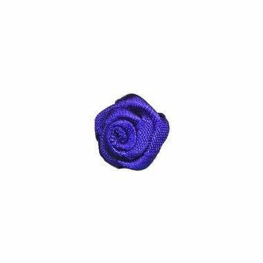 Roosje satijn kobalt blauw 15 mm (ca. 25 stuks)