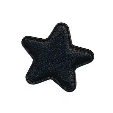 Applicatie ster zwart satijn effen middel 30 mm (ca. 100 stuks)