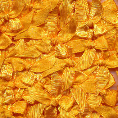 Satijnen strikjes warm geel (ca. 100 stuks)