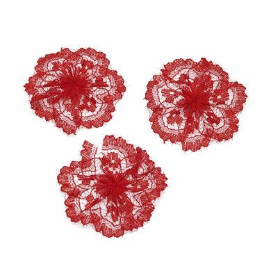 Kanten rozet knal rood ca. 40 mm (ca. 25 stuks)