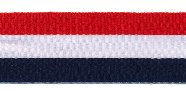 Rood-wit-donkerblauw grosgrain/ribsband 25 mm (ca. 45 m)