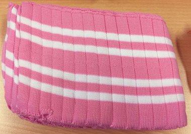 Boord roze-wit gestreept met ribbel ca. 32 cm (6 stuks)