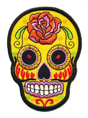 Opstrijkbare applicatie sugar skull geel groot (5 stuks)