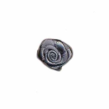 Roosje satijn antraciet grijs 15 mm (ca. 25 stuks)