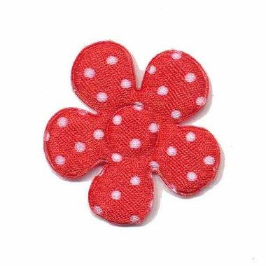 Applicatie bloem rood met witte stippen satijn middel 35 mm (ca. 25 stuks)