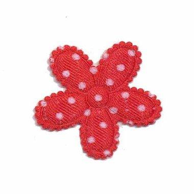 Applicatie bloem rood met witte stippen satijn middel 30 mm (ca. 100 stuks)