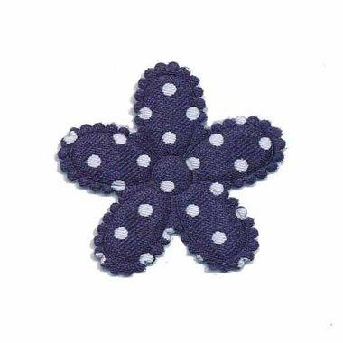 Applicatie bloem donker blauw met witte stippen satijn middel 30 mm (ca. 100 stuks)