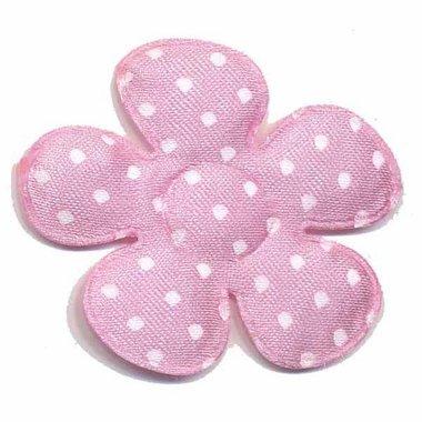 Applicatie bloem roze met witte stippen satijn groot 45 mm (ca. 100 stuks)