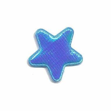 Applicatie glim ster blauw klein 25 mm (ca. 100 stuks)