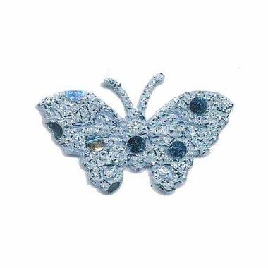 Applicatie glitter vlinder blauw 40 x 25 mm (ca. 100 stuks)