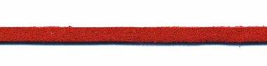 Imitatie suede veter rood 3 mm (ca. 10 m)