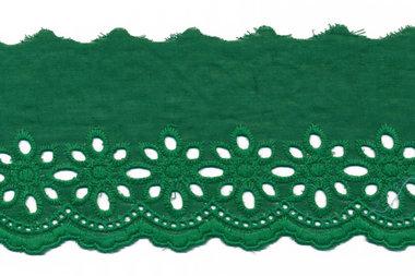 Broderie donker groen KATOEN 75 mm (ca. 13,5 m)