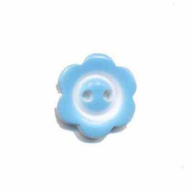 Bloemknoop met rand licht blauw 15 mm (ca. 50 stuks)