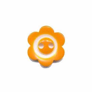 Bloemknoop met rand oranje 15 mm (ca. 50 stuks)