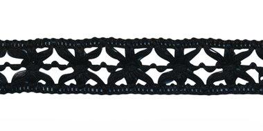 Gebreid sierband zwart ca. 15 mm (ca. 10 m)