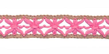 Gebreid sierband roze met zand ca. 15 mm (ca. 10 m)