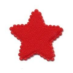 Applicatie ster vilt rood middel 35 mm (ca. 25 stuks)