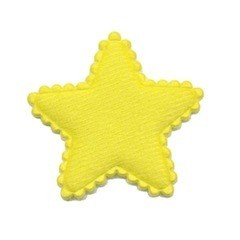 Applicatie ster vilt NEON geel middel 35 mm (ca. 25 stuks)