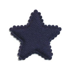 Applicatie ster vilt donker blauw middel 35 mm (ca. 100 stuks)