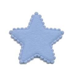 Applicatie ster vilt licht blauw middel 35 mm (ca. 25 stuks)