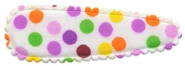 Haarkniphoesje gebroken wit met multi color stipjes lila 5 cm (ca. 100 stuks)
