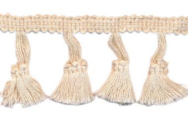 Band met kwastjes creme 50 mm (ca. 10 meter)