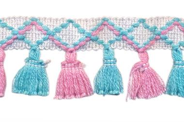 Band met kwastjes wit-roze-blauw 45 mm (ca. 10 meter)