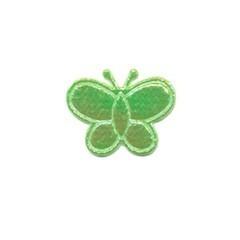 Applicatie glim vlinder groen klein 20 x 20 mm (ca. 100 stuks)