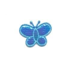 Applicatie glim vlinder blauw klein 20 x 20 mm (ca. 100 stuks)