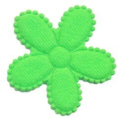 Applicatie bloem NEON groen vilt groot 45 mm (ca. 100 stuks)