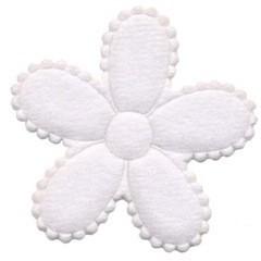 Applicatie bloem wit vilt groot 45 mm (ca. 100 stuks)