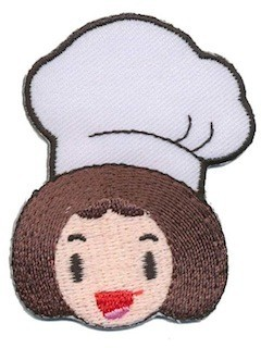 Opstrijkbare applicatie kok meisje (5 stuks)