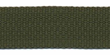 Tassenband 25 mm legergroen (50 m)