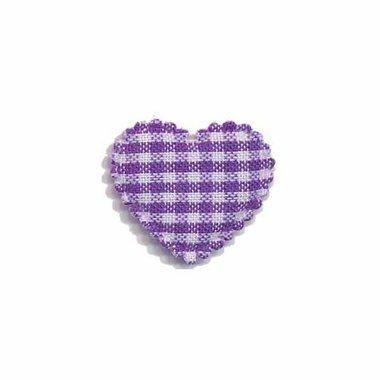 Applicatie ruitjes hart paars klein 25 x 20 mm (ca. 100 stuks)