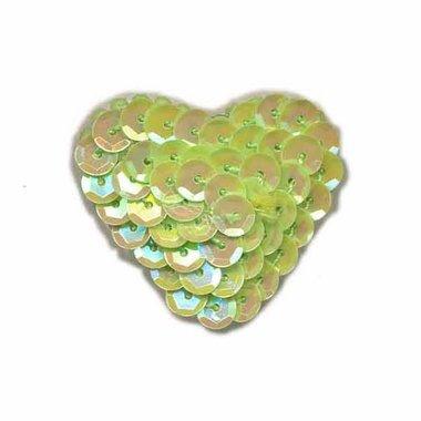 Applicatie pailletten hart groen middel 30 x 30 mm (10 stuks)