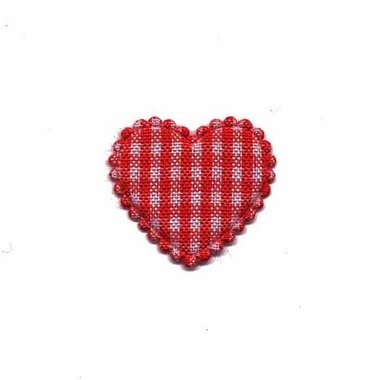 Applicatie geruit hart rood klein 25 x 20 mm (ca. 100 stuks)