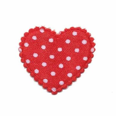 Applicatie hart rood met witte stippen satijn middel 35 x 30 mm (ca. 100 stuks)