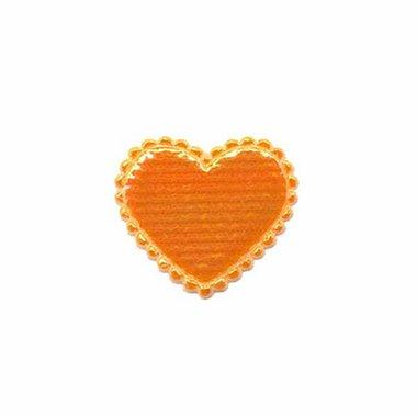 Applicatie glim hart oranje klein 20 x 20 mm (ca. 100 stuks)