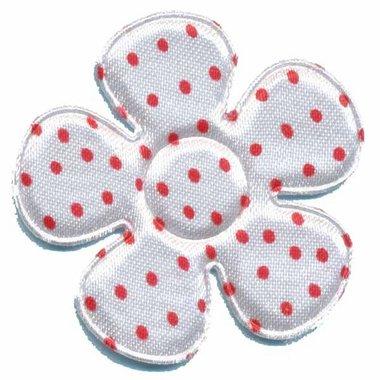 Applicatie bloem wit met rode stippen satijn groot 45 mm (ca. 100 stuks)