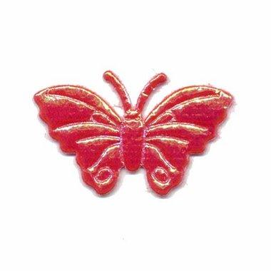 Applicatie glim vlinder rood middel 40 x 25 mm (ca. 100 stuks)