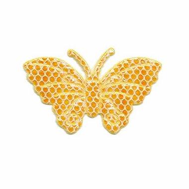 Applicatie glim vlinder met gaasje oranje/geel middel 40 x 25 mm (ca. 100 stuks)