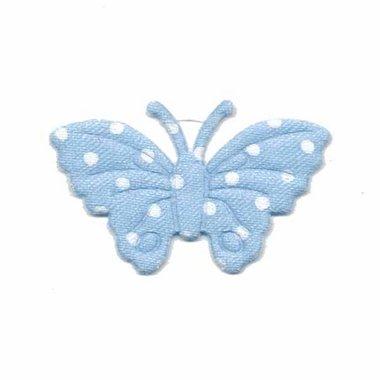 Applicatie vlinder licht blauw met witte stippen satijn middel 40 x 25 mm (ca. 100 stuks)